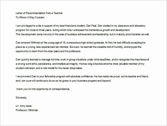 Letter Of Recommendation Template Student Unique 28 Letters Of Re Mendation for Teacher Pdf Doc