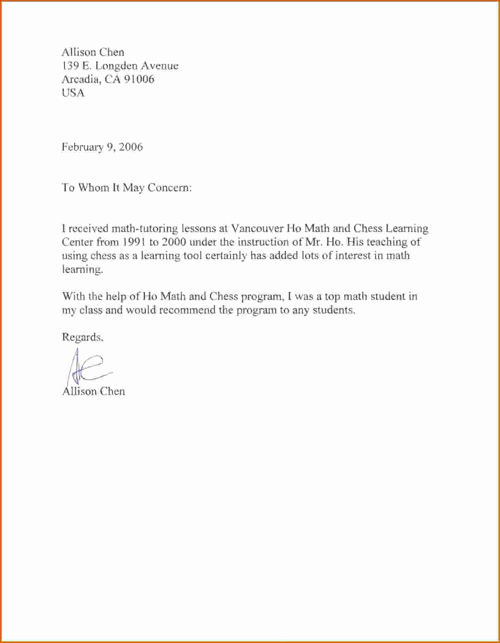 Letter Of Recommendation Template Student Unique 8 Sample Re Mendation Letter for Student