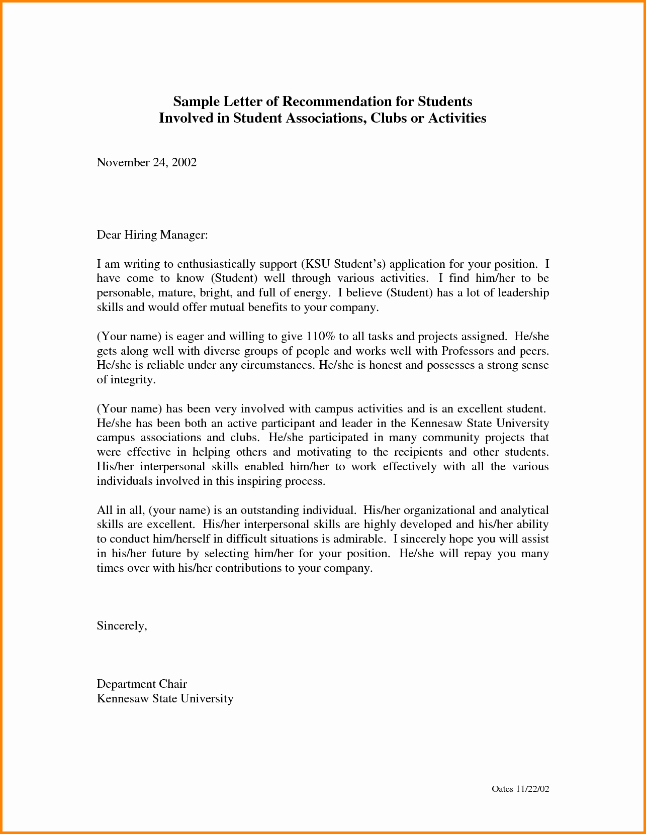 Letter Of Recommendation Template Student Unique Letter Re Mendation for Student Free Download Aashe