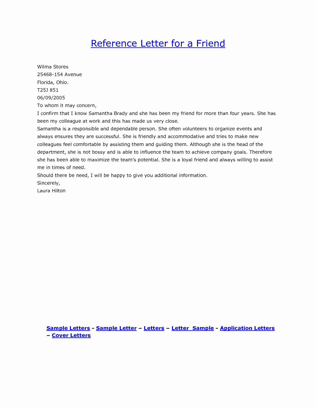 Letter Of Recommendation with Letterhead Awesome Sample Reference Letter for A Close Friend Cover Letter