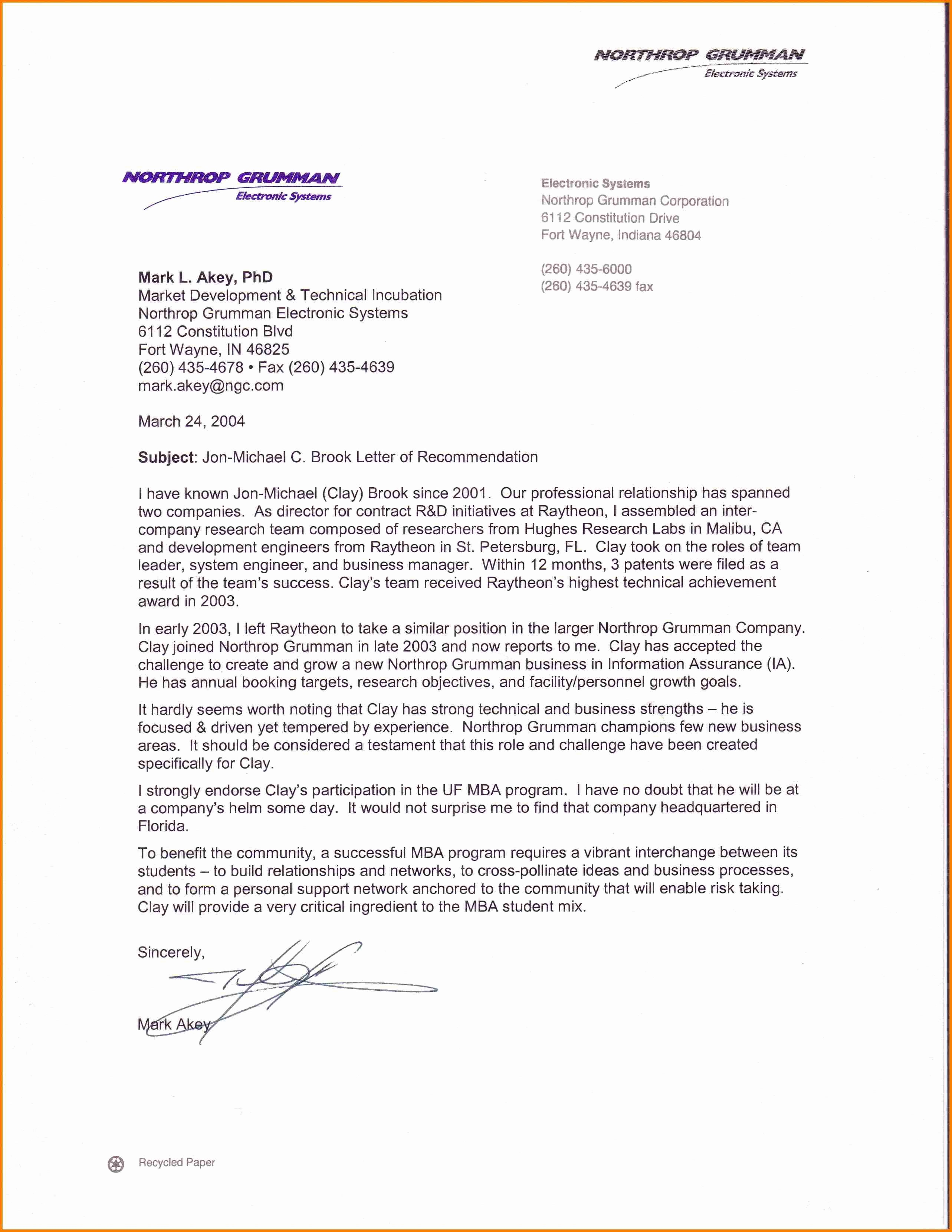 Letter Of Recommendation with Letterhead Inspirational Re Mendation Letter for Mba – Templates Free Printable