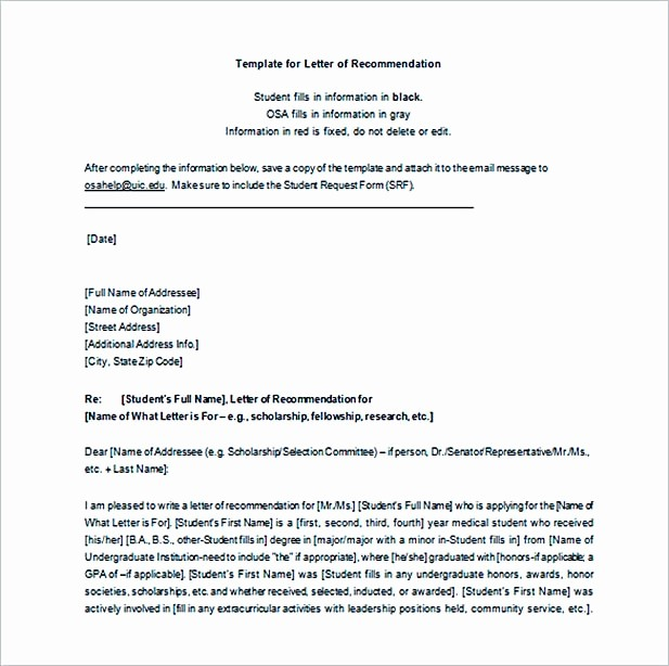 Letter Of Recommendation Word Template Beautiful Graduate School Re Mendation Letter