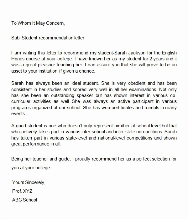 Letter Of Recommendation Word Template Best Of 7 Letters Of Re Mendation Download Free Documents In