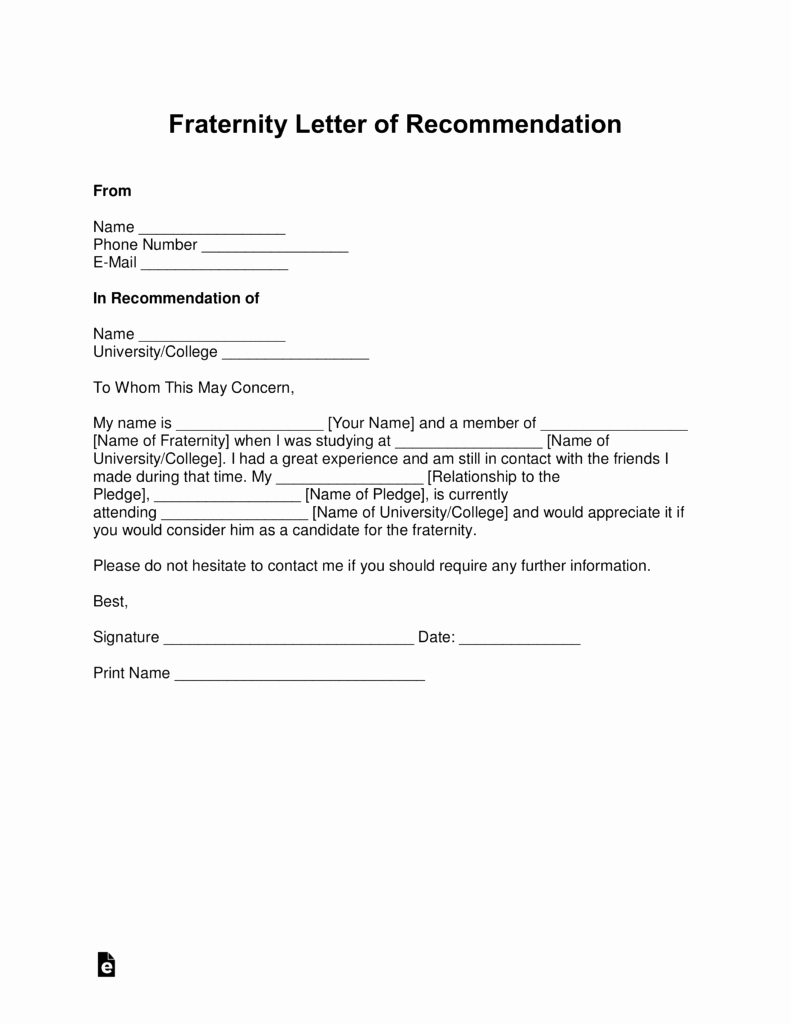 Letter Of Recommendation Word Template Elegant Free Fraternity Letter Of Re Mendation Template with