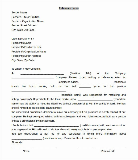 Letter Of Recommendation Word Template Inspirational 42 Reference Letter Templates Pdf Doc