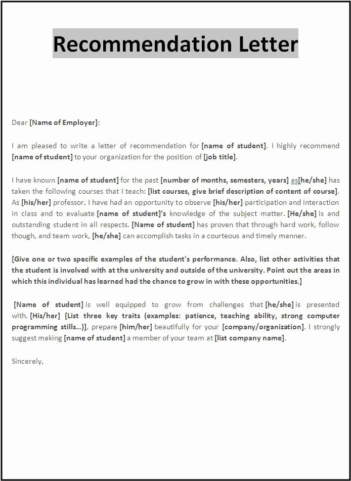 Letter Of Recommendation Word Template Inspirational Re Mendation Letter Template