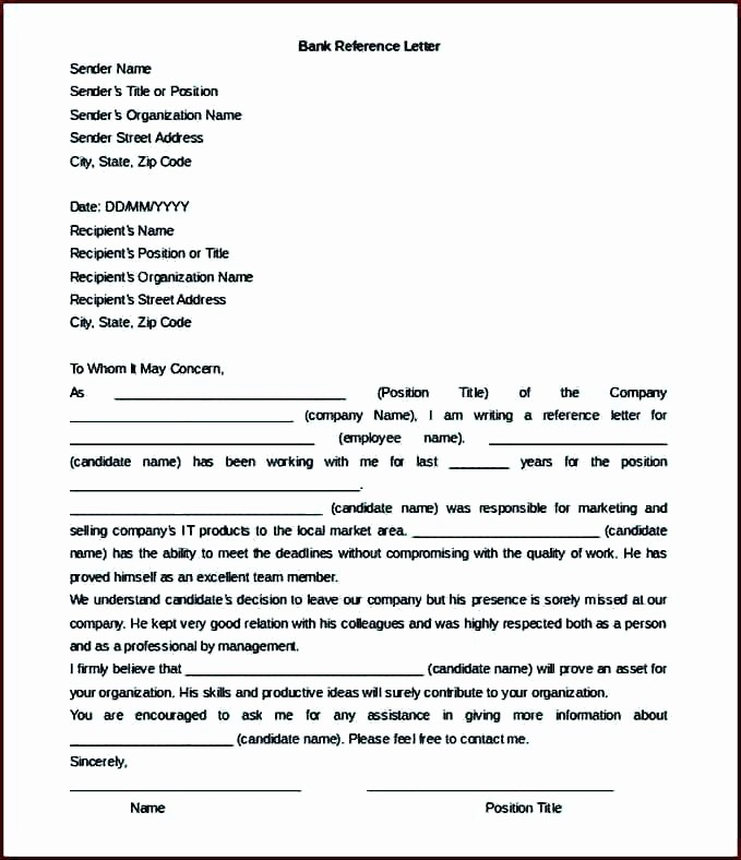 Letter Of Recommendation Word Template Lovely College Re Mendation Letter format Reference Template