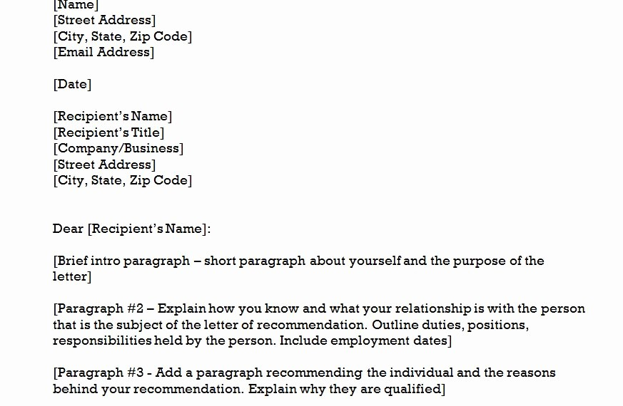 Letter Of Recommendation Word Template Lovely the Re Mendation Letter Template