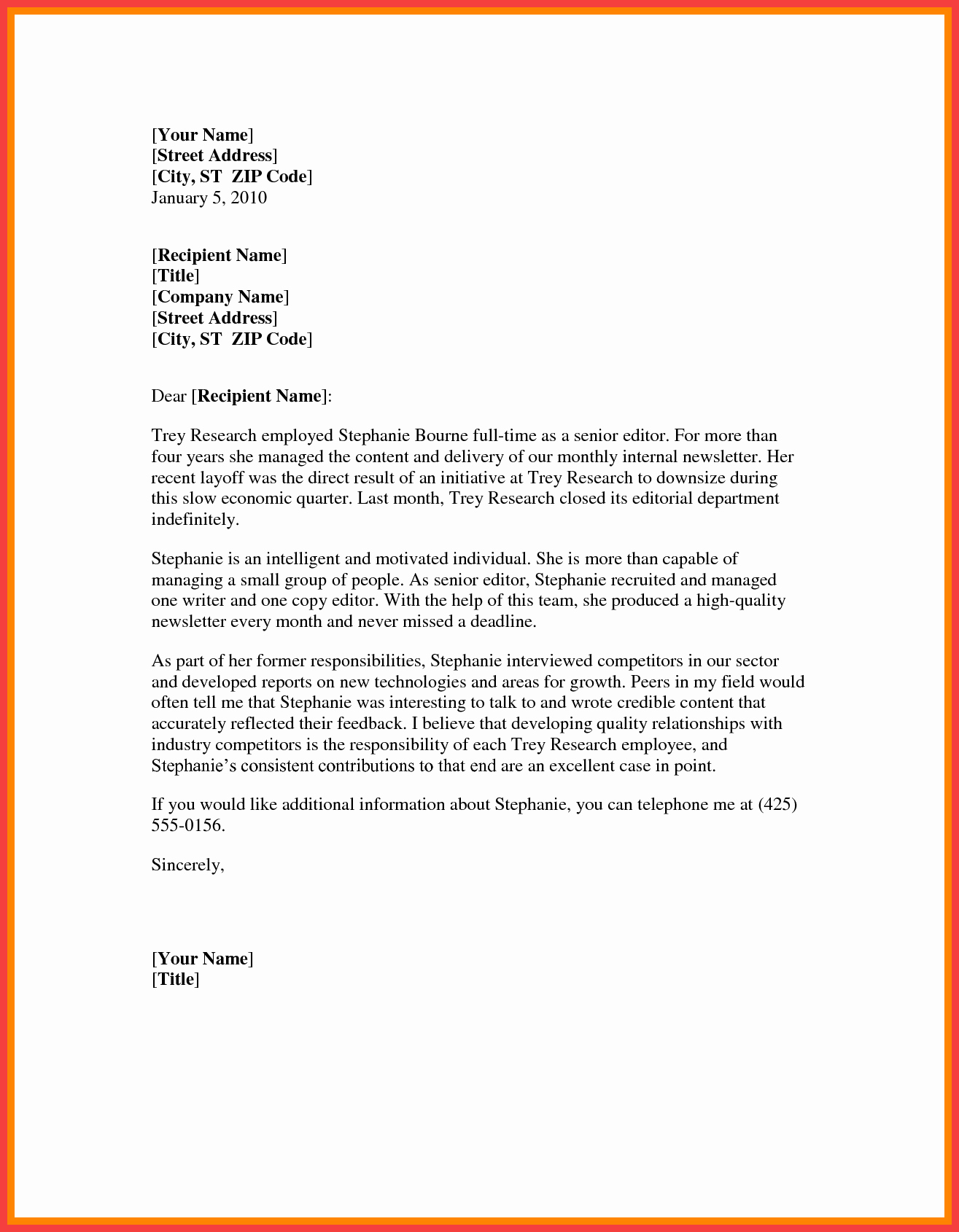 Letter Of Recommendation Word Template New Word formal Letter Template