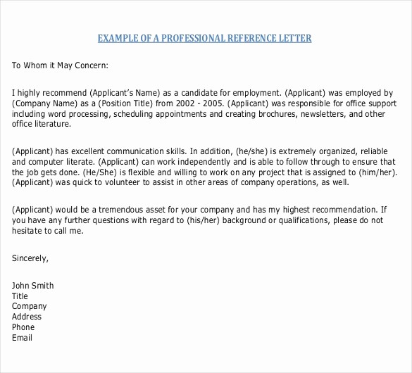 Letter Of Recommendation Word Template Unique Reference Letter Templates – 18 Free Word Pdf Documents