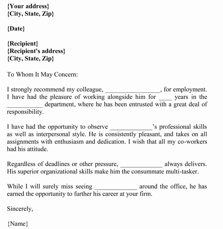 Letter Of Reference for Coworker Awesome Letter Of Re Mendation for Co Worker 18 Sample Letters