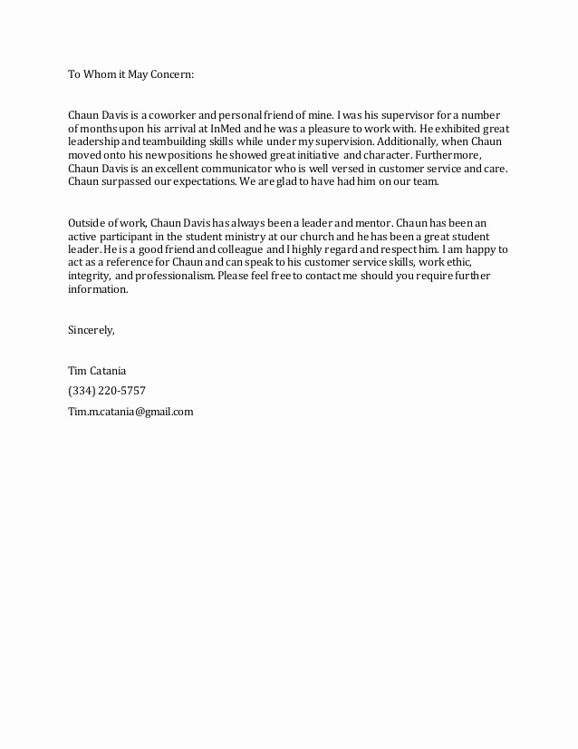 Letter Of Reference for Coworker Elegant Reference Letter Chaun Davis Tim Catania
