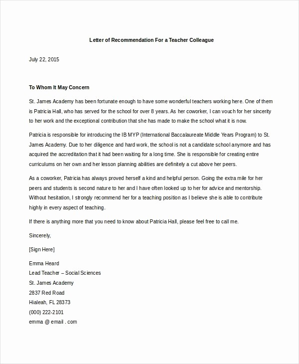 Letter Of Reference for Coworker Inspirational How to Write A Letter Re Mendation for Coworker