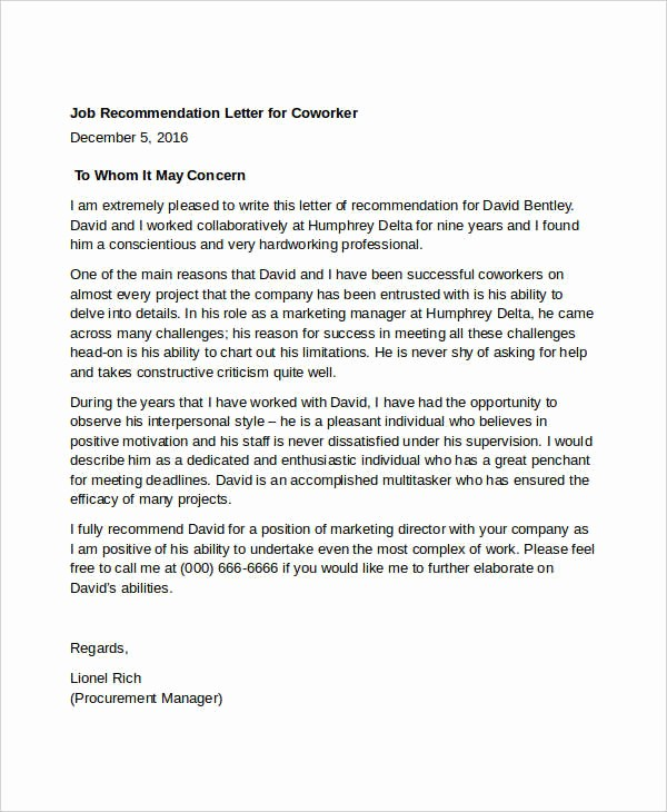 Letter Of Reference for Coworker Unique 13 Coworker Re Mendation Letter Templates Pdf Doc