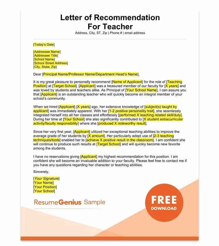 Letter Of Reference for Teachers Awesome Letter Of Re Mendation for Teacher 15 Templates and