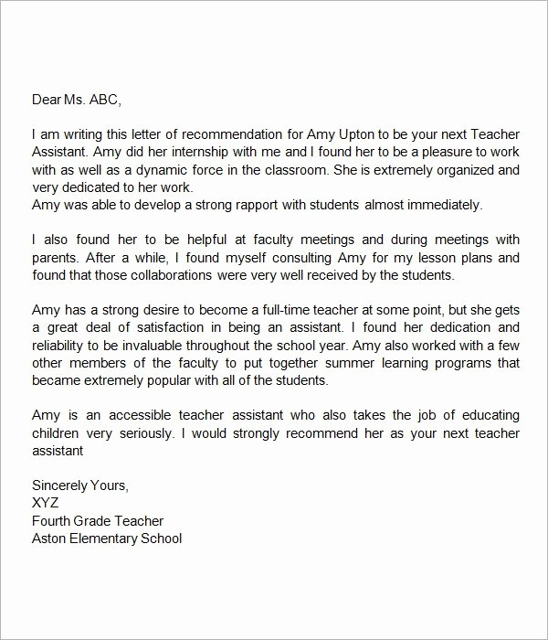 Letter Of Reference for Teachers Awesome Sample Letter Of Re Mendation for Teacher 18