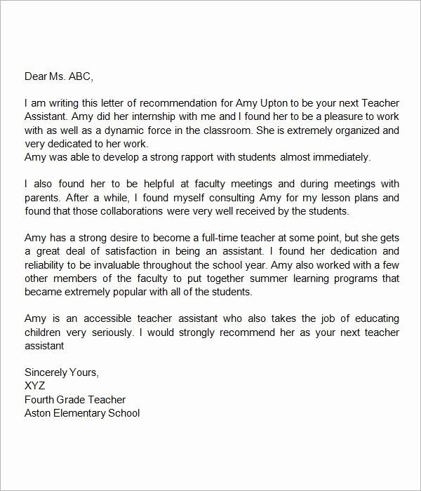 Letter Of Reference for Teachers Awesome Sample Letter Of Re Mendation for Teacher 18