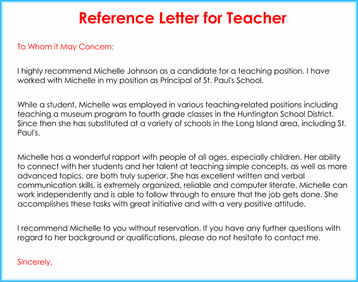 Letter Of Reference for Teachers Awesome Teacher Re Mendation Letter 20 Samples Fromats