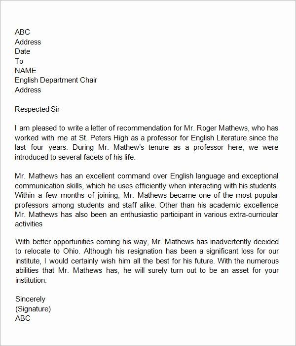Letter Of Reference for Teachers Elegant 18 Letter Of Re Mendation for Teacher Samples – Pdf