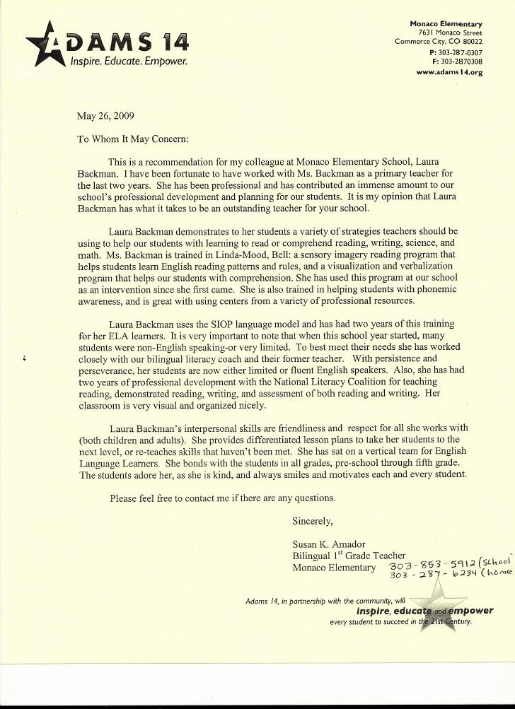 Letter Of Reference for Teachers Inspirational Letter Of Re Mendation From Elementary School Teacher