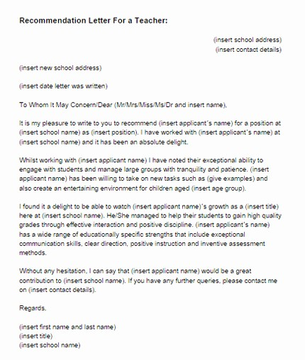 Letter Of Reference for Teachers Lovely Re Mendation Letter for A Teacher Sample
