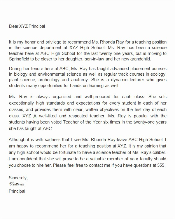 Letter Of Reference for Teachers Luxury Sample Letters Of Re Mendation for Teacher 12