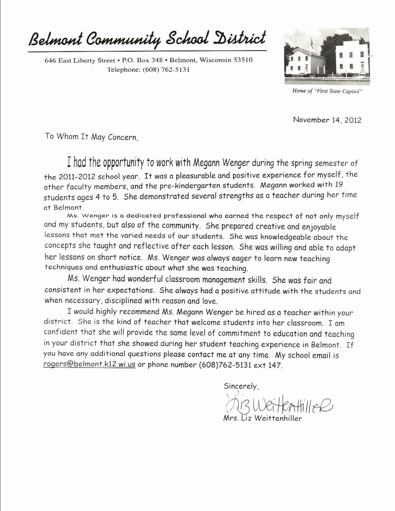 Letter Of Reference for Teachers New Kindergarten Letter Re Mendation Cover Letter