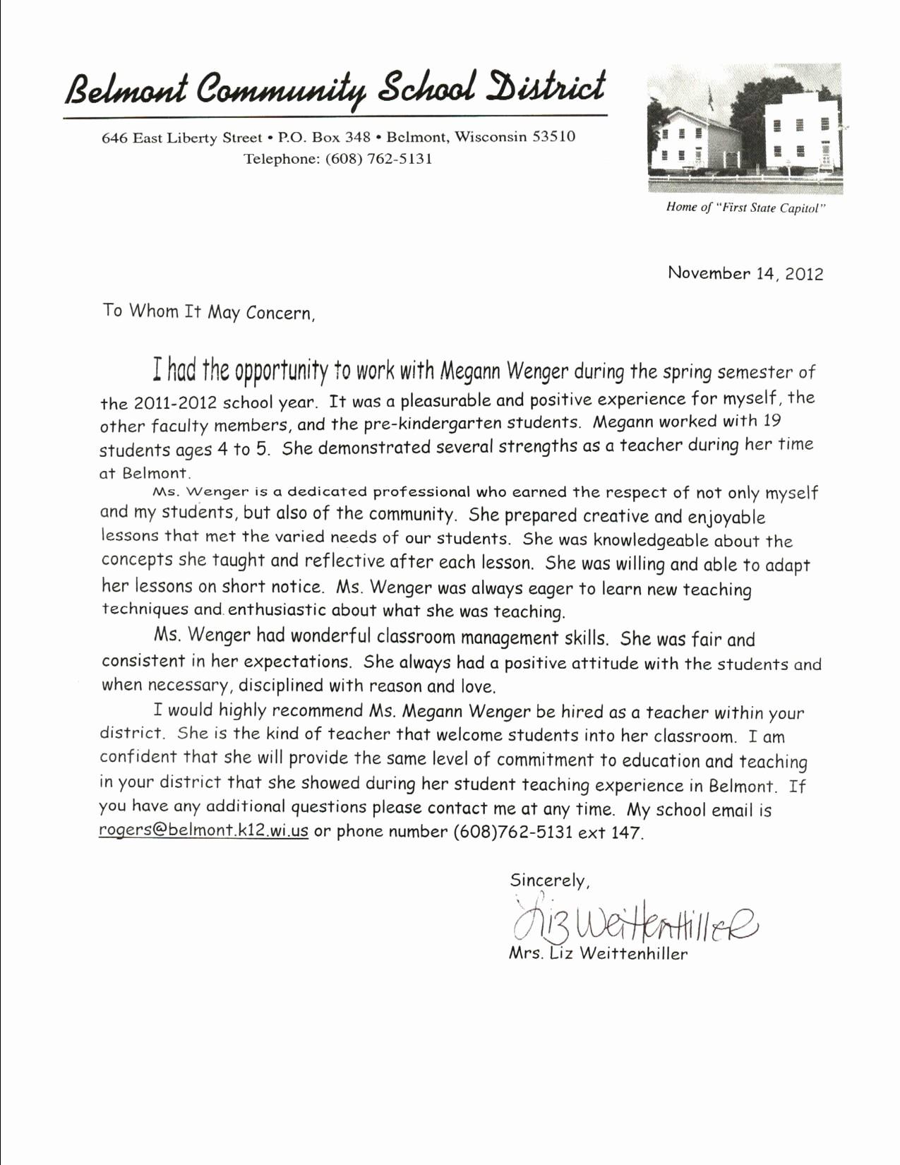 Letter Of Reference for Teachers New Kindergarten Letter Re Mendation Cover Letter
