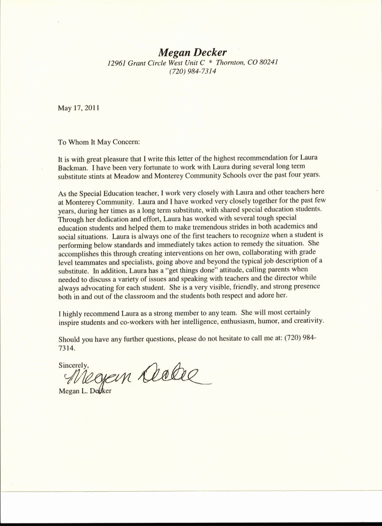 Letter Of Reference for Teachers New Letter Of Re Mendation From Special Education Teacher