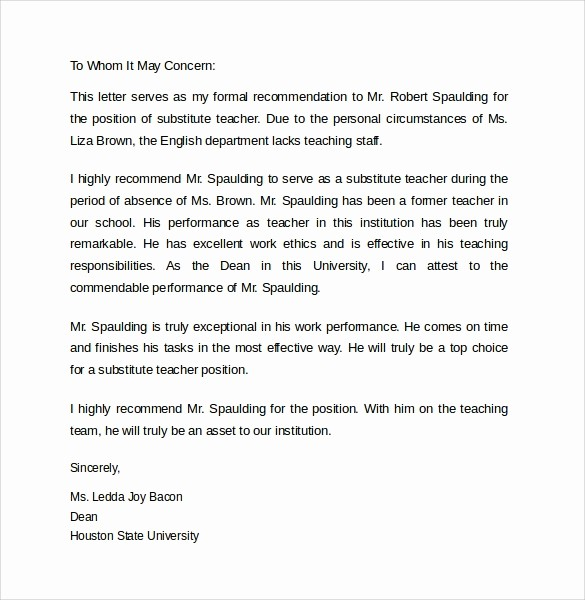 Letter Of Reference for Teachers New Substitute Teacher Letter Letter Of Re Mendation