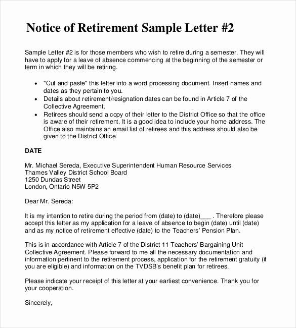 Letter Of Resignation Retirement Example Awesome 2 Resignation Retirement Letter Templates Pdf