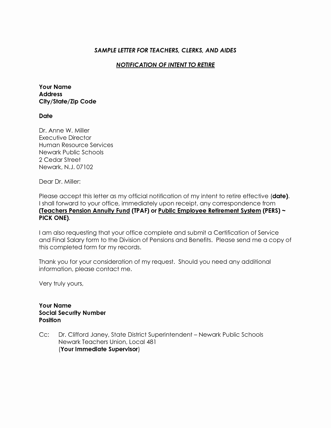 Letter Of Resignation Retirement Example Awesome Template Free Collection