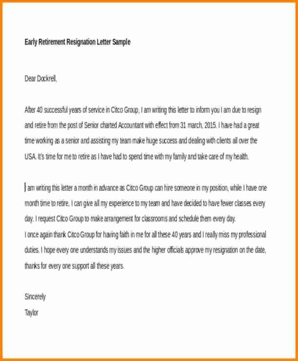 Letter Of Resignation Retirement Example Best Of 6 Letters Of Resignation Due to Retirement