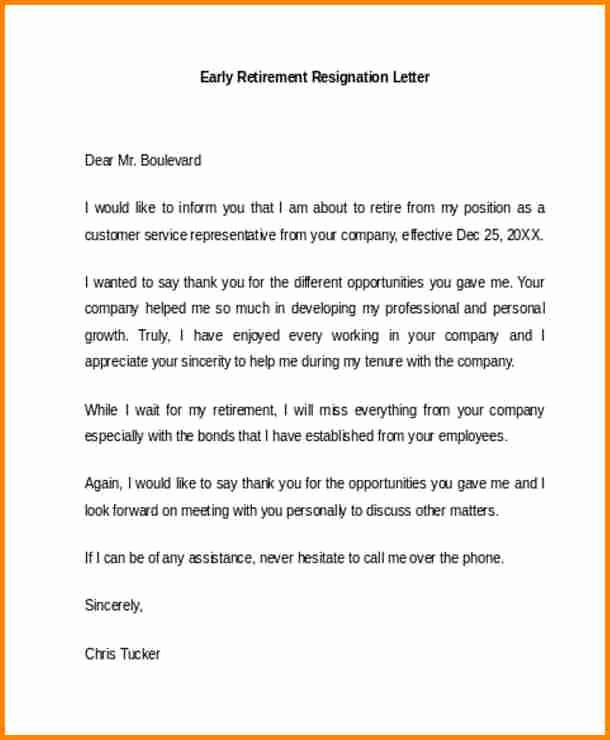 Letter Of Resignation Retirement Example Elegant 7 Resignation Retirement Letter Samples Free