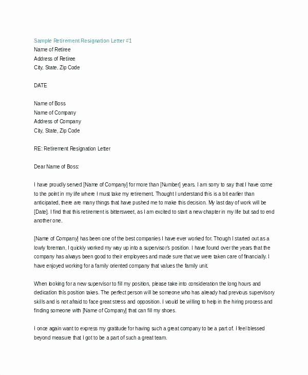 Letter Of Resignation Retirement Example Elegant Letters Retirement Resignation Letter Unique 7 Template