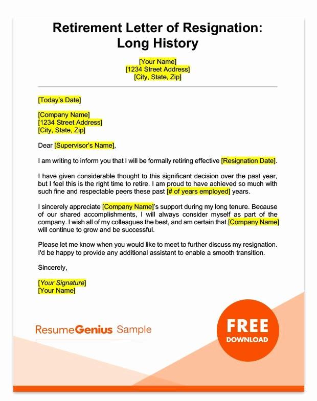 Letter Of Resignation Retirement Example Fresh Life Specific Resignation Letters Samples