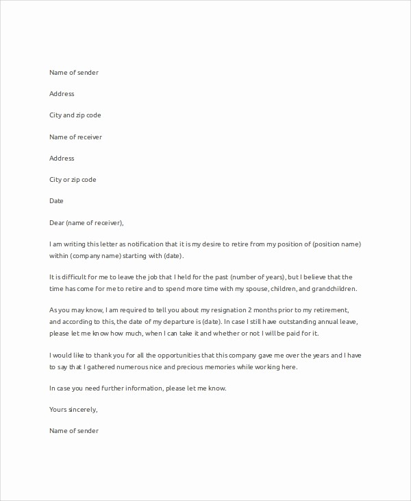 Letter Of Resignation Retirement Example Inspirational 7 Samples