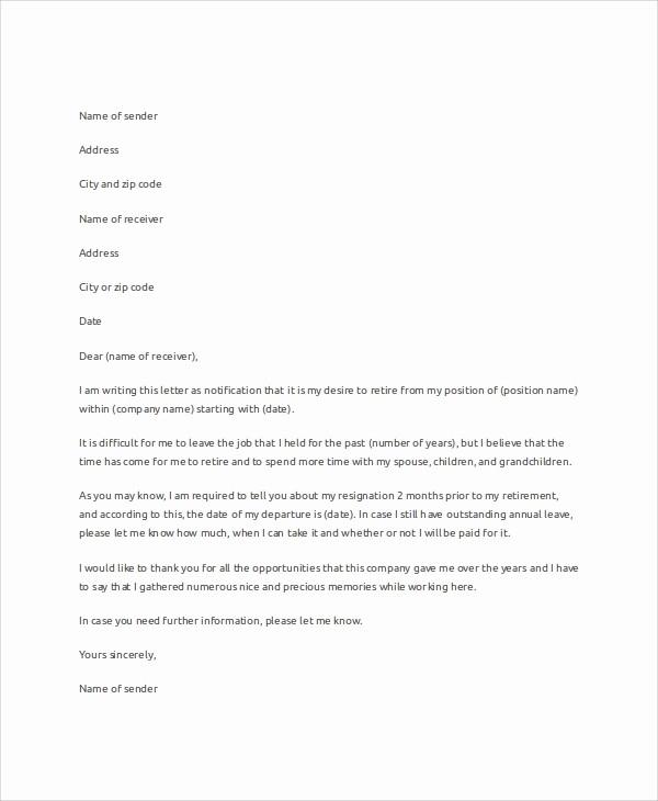 Letter Of Resignation Retirement Example Inspirational 7 Letter Resignation Samples