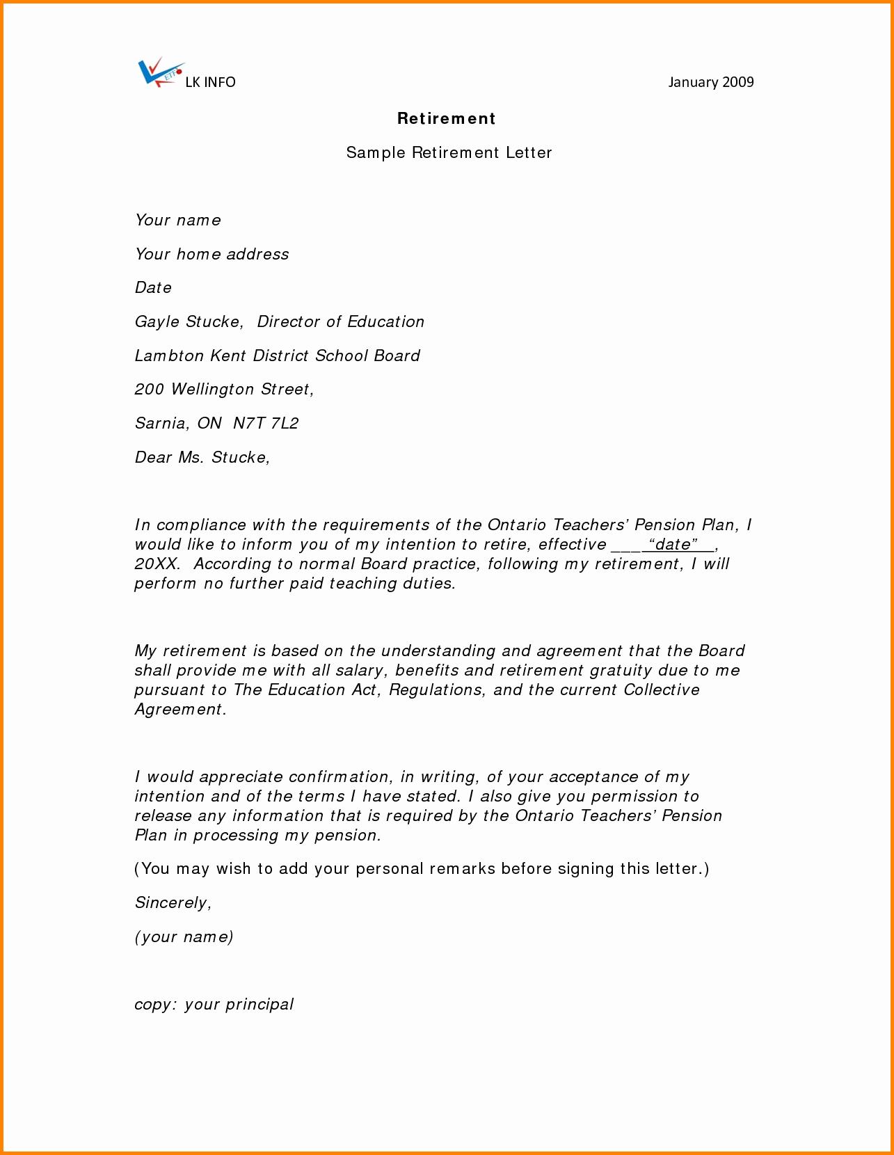 Letter Of Resignation Retirement Example Inspirational 7 Samples Free