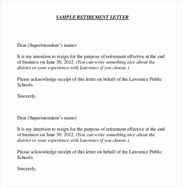Letter Of Resignation Retirement Example Lovely 36 Retirement Letter Templates Pdf Doc