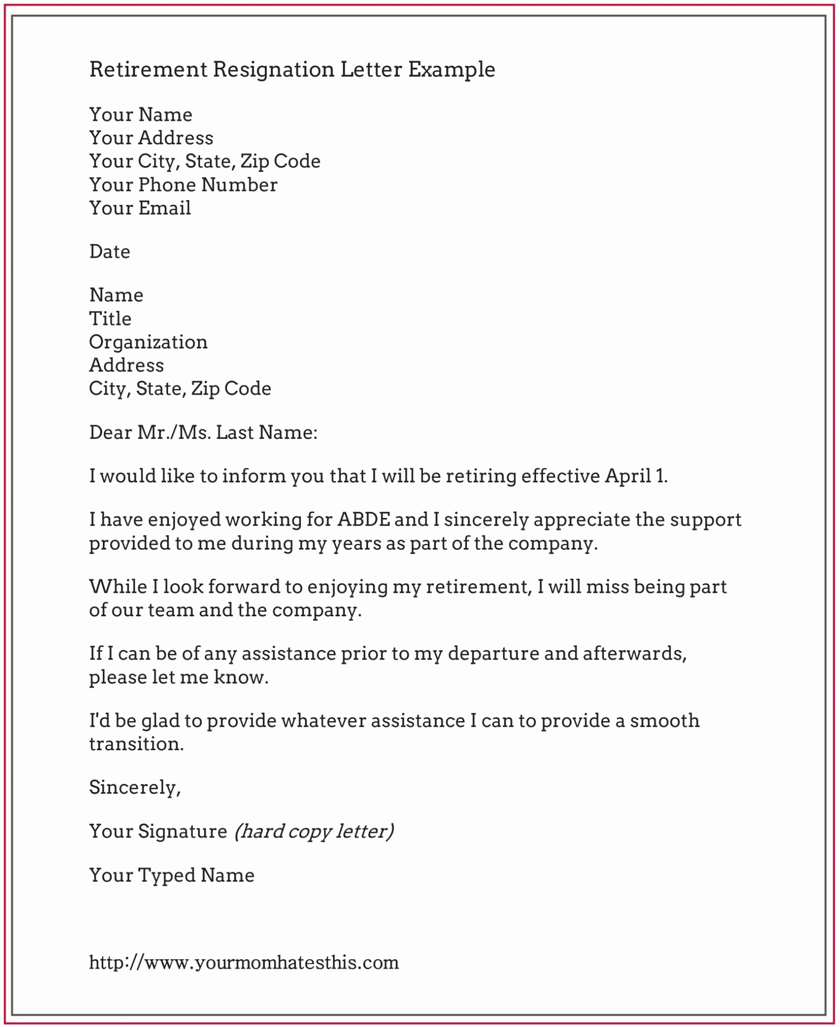 Letter Of Resignation Retirement Example Luxury Retirement Resignation Letter Example