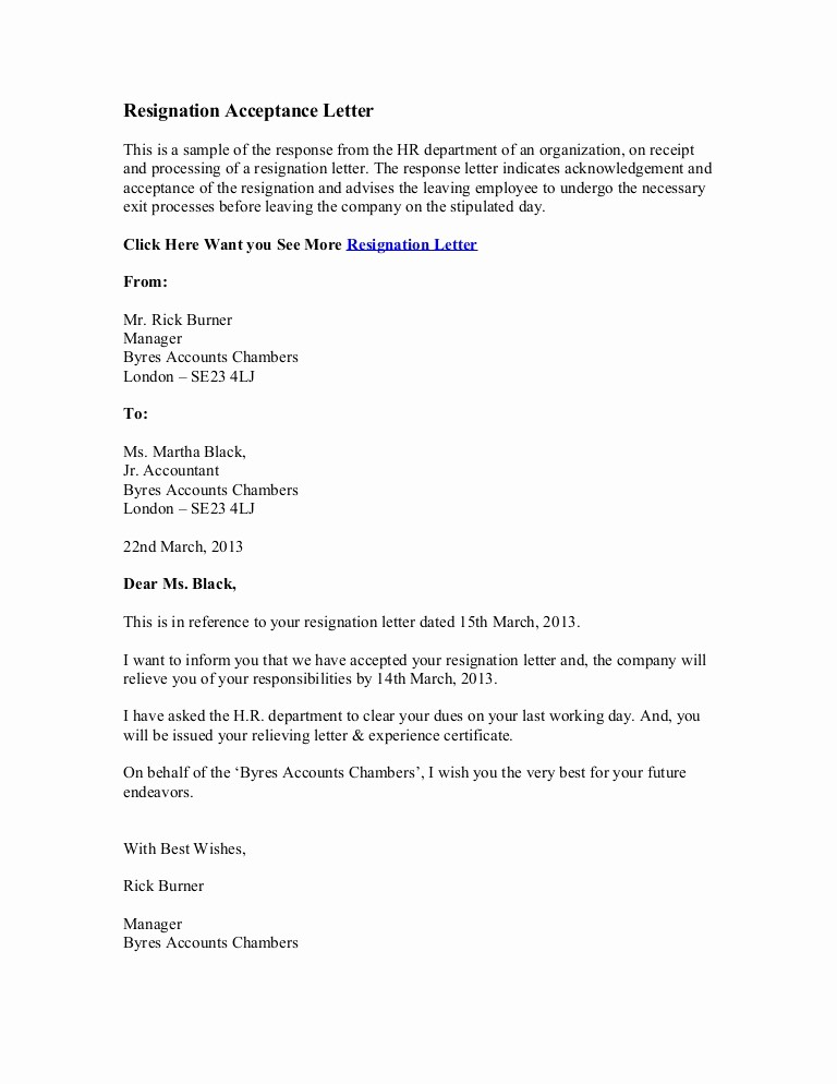 Letter Of Resignation Retirement Example Unique Resignation Acceptance Letter