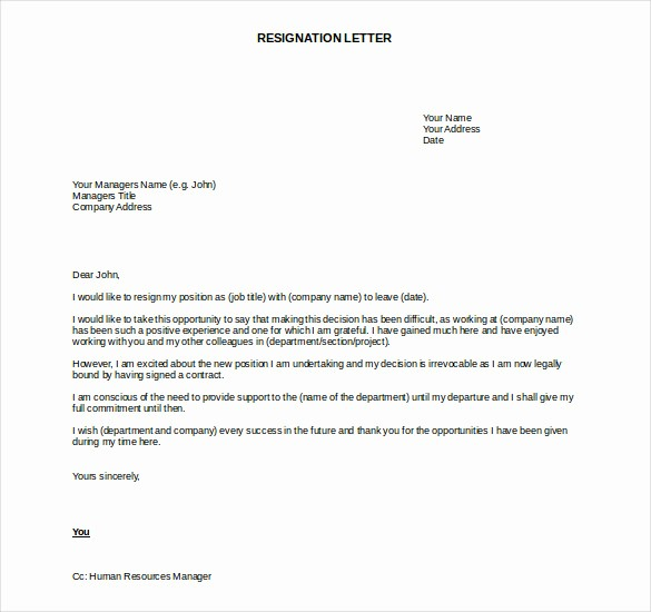Letter Of Resignation Template Download Awesome 27 Resignation Letter Templates Free Word Excel Pdf