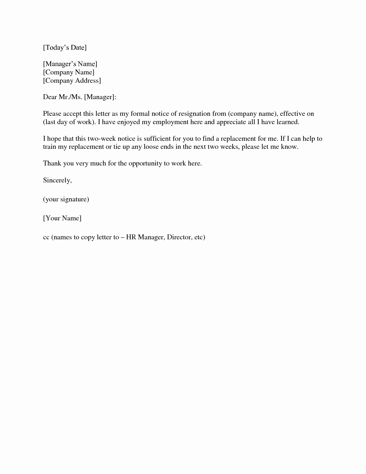 Letter Of Resignation Template Download Best Of 2 Weeks Notice Letter