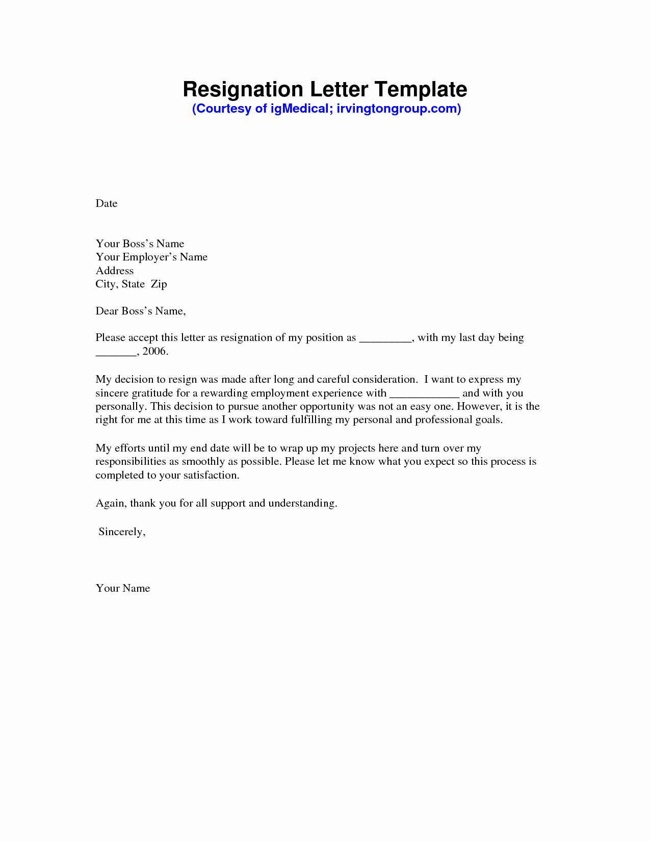 Letter Of Resignation Template Download Elegant Resignation Letter Sample Pdf
