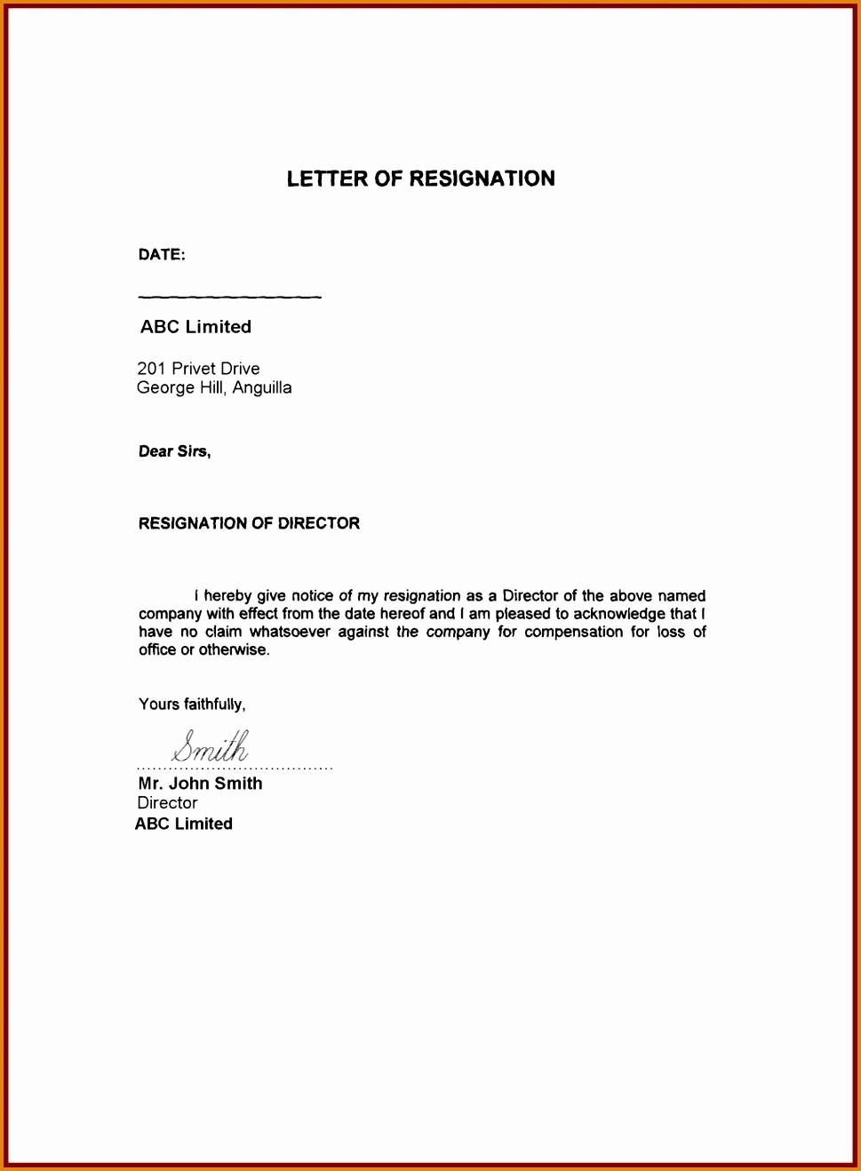 Letter Of Resignation Template Download Fresh Resign Letter Example Sample Resignation Letter format
