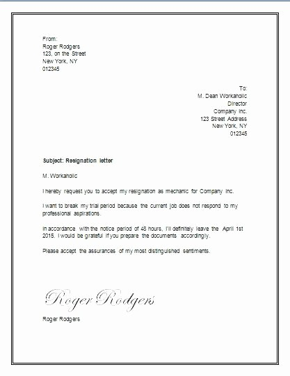 Letter Of Resignation Template Download Inspirational Resign Letter Example Sample Resignation format Download