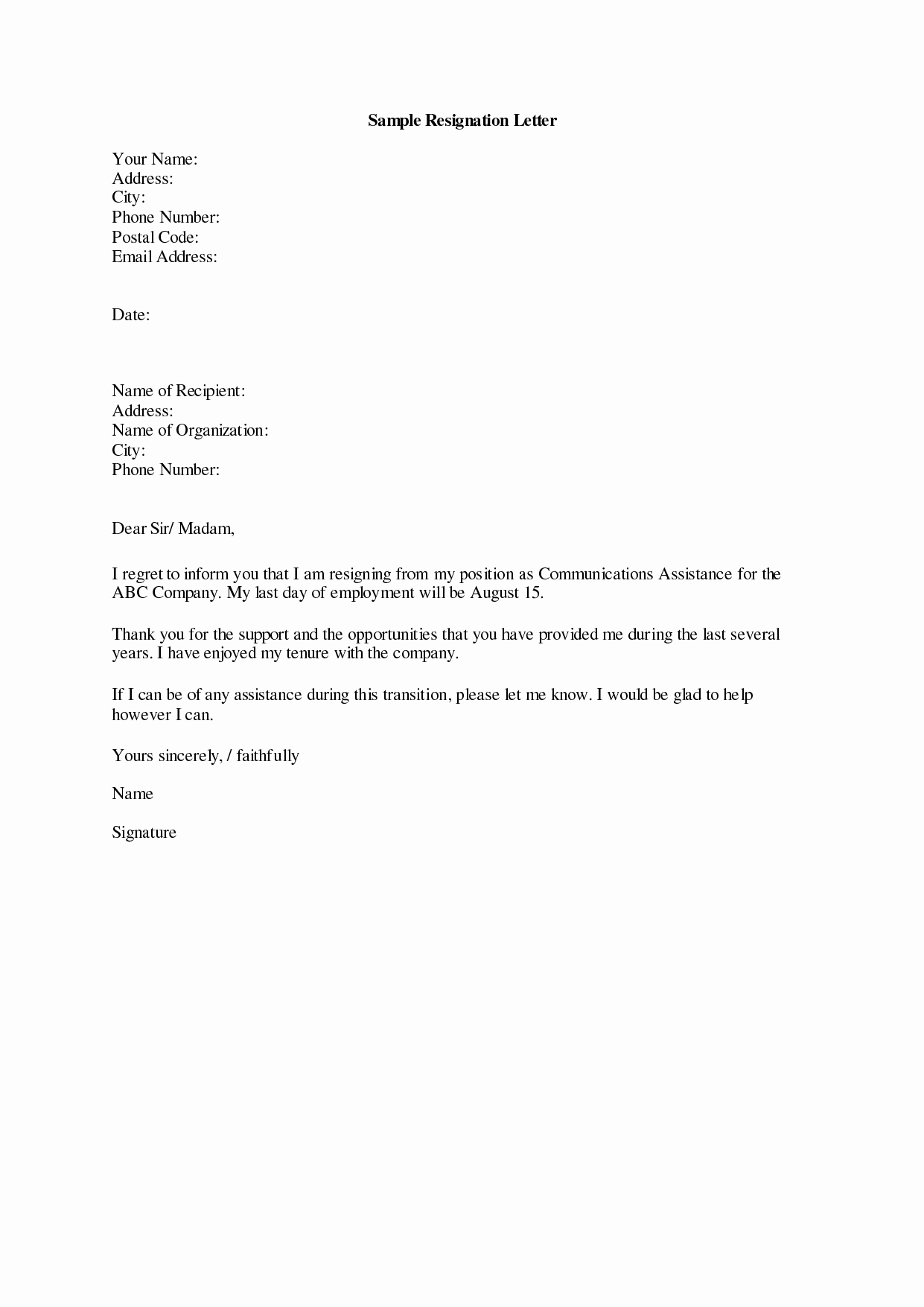 Letter Of Resignation Template Download Inspirational Resignation Letter Template