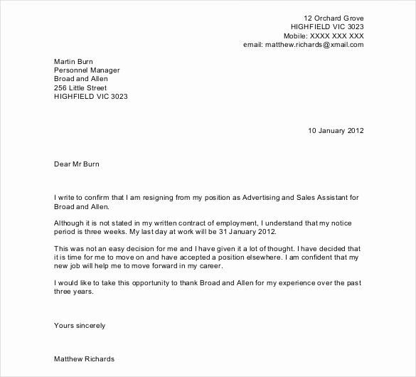 Letter Of Resignation Template Download Lovely 27 Resignation Letter Templates Free Word Excel Pdf