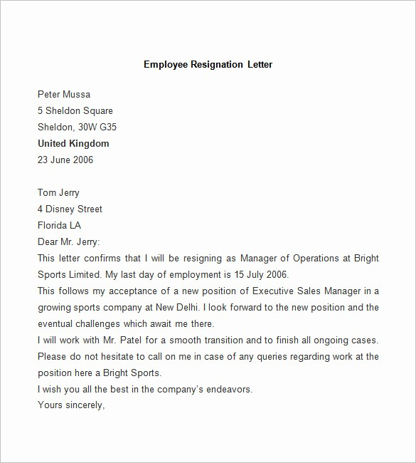 Letter Of Resignation Template Download Lovely Resignation Letter Template 25 Free Word Pdf Documents